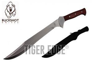 Machete | Buckshot Full Tang Silver Blade Wood Handle 21.5