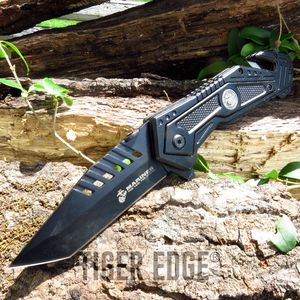 USMC Marines Black Spring Assisted Tanto Blade Rescue Folding Knife