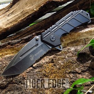 USMC Marines Spring Assisted Black G10 Serrated Tanto Blade Folding Knife