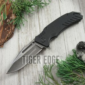 USMC Marines Spring Assisted Folding Knife EDC Black G10 Stonewash