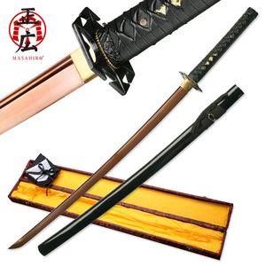 Hand-Forged Bronze Carbon Steel Black Japanese Samurai Sword w/ Box