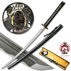 Hand-Forged Damascus Carbon Steel Black Japanese Samurai Sword w/ Box