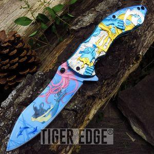 SPRING ASSIST FOLDING POCKET KNIFE | Poseidon Fantasy Greek Display MC-A027BL