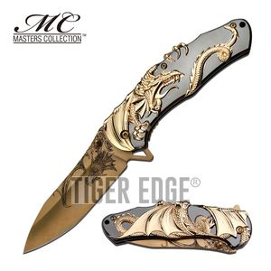Dragon Spring-Assisted Folding Pocket Knife | Fantasy Gold Blade + Gift Box