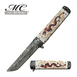 Spring-Assist Folding Knife | White Asian Chinese Dragon 3.6