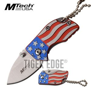 American Flag Folding Pocket Knife Keychain Mini | Mtech 1.4