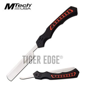 Straight Razor | Mtech Tactical Black Red Stainless Steel Blade Folding Knife