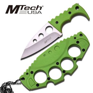 Mtech Green Tactical Fighter Full Tang Neck Knife w/ Knuckle Duster Hard Sheath