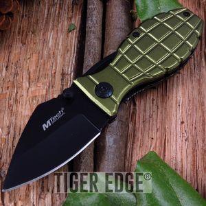 Green Handle Grenade Folding Knife w/ Clip