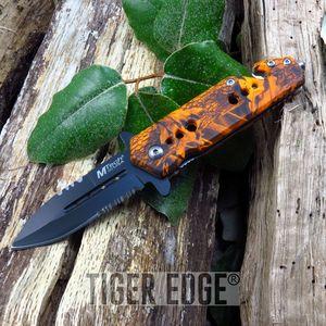 Mtech Orange Camo Half Serrated Rescue Knife w/ Belt Cutter and Glass Break