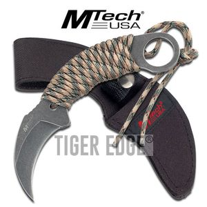 FIXED-BLADE TACTICAL KNIFE | Mtech Paracord-Wrapped Gray Stone Karambit Tactical