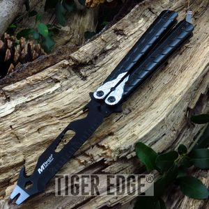 Mtech Black/Silver Practice Butterfly Balisong Multi Tool - NO BLADE