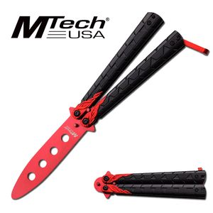 Mtech Black/Red Practice Butterfly Balisong Knife - NO BLADE