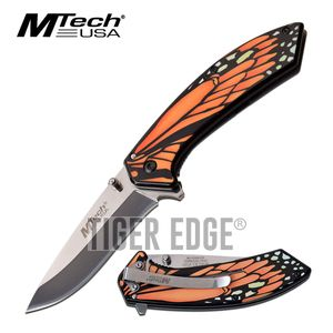 Spring-Assist Folding Knife | Mtech Orange Monarch Butterfly Wing Tactical EDC