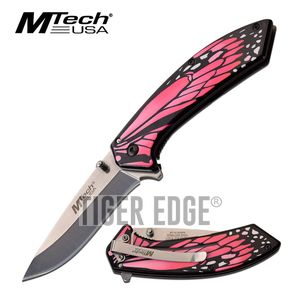 Spring-Assist Folding Knife | Mtech Pink Monarch Butterfly Wing Tactical EDC