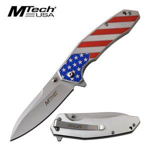 Spring-Assist Folding Knife | Mtech American Flag Silver 3.5