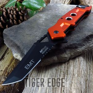 Mtech Orange EMT Serrated Tactical Rescue Spring Assist Folding Knife