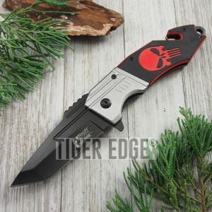 SPRING-ASSIST FOLDING POCKET KNIFE Mtech Black Combat Tanto Blade G10 Red Skull
