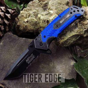Mtech Blue Grey Futuristic Combat Spring Assist Folding Knife Serrated Tanto