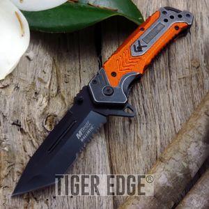 Mtech Orange Grey Futuristic Combat Spring Assist Folding Knife Serrated