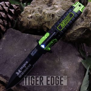 Mtech Search and Rescue Spring Assist Folding Knife with LED Light Handle