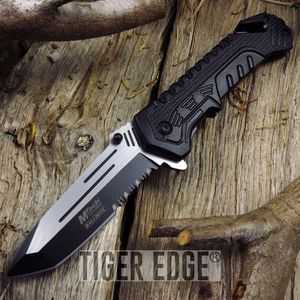 Mtech Black Serrated Tactical Rescue Tanto Spring-Assisted Folding Knife