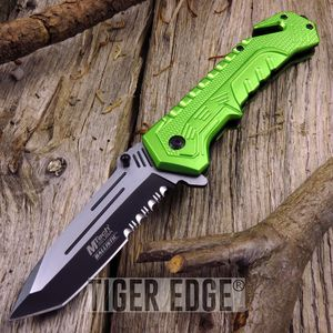 Mtech Green Serrated Tactical Rescue Tanto Spring-Assisted Folding Knife