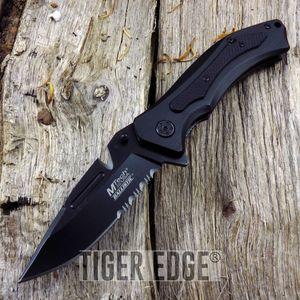 Mtech Belt Cutter Blade Classic Black Folding Knife Spring Assist G10 Grip