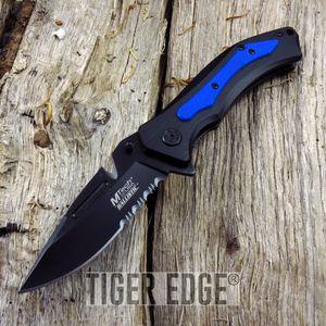 Mtech Belt Cutter Blade Black Blue Folding Knife Spring Assist G10 Grip EDC