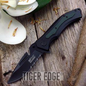 Mtech Belt Cutter Blade Black Green Folding Knife Spring Assist G10 Grip