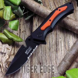 Mtech Belt Cutter Blade Orange Folding Knife Spring Assist G10 Grip Handle