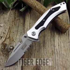 Mtech Belt Cutter Blade Silver Folding Knife Spring Assist G10 Grip Handle