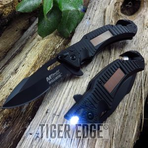 SPRING-ASSIST FOLDING POCKET KNIFE | Mtech Emergency Black Solar LED Flashlight
