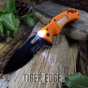 SPRING-ASSIST FOLDING POCKET KNIFE | Mtech Emergency Orange Solar LED Flashlight