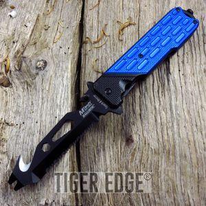 SPRING-ASSIST FOLDING POCKET KNIFE Mtech Blue Bottle Opener Multi Tool Tactical
