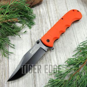 SPRING-ASSIST FOLDING POCKET KNIFE Mtech Black Blade Orange Hard Rubber Handle