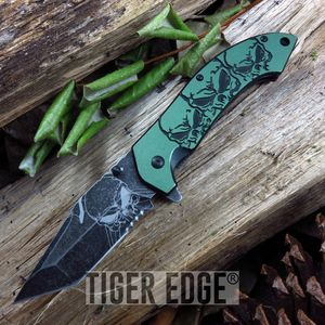 SPRING-ASSIST FOLDING POCKET KNIFE | Mtech Tanto Skull Serrated Blade Green EDC