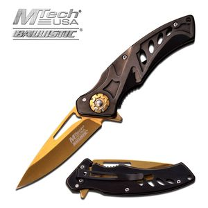 SPRING-ASSIST FOLDING POCKET KNIFE   Mtech Black Gold Tactical Blade MT-A917BG