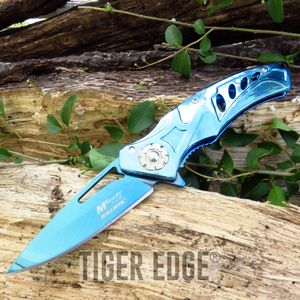 SPRING-ASSIST FOLDING POCKET KNIFE Mtech Blue Titanium Tactical Blade MT-A917BL