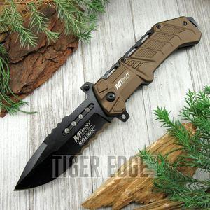 SPRING-ASSIST FOLDING POCKET KNIFE Mtech Brown Drop Point Deep Serration Blade