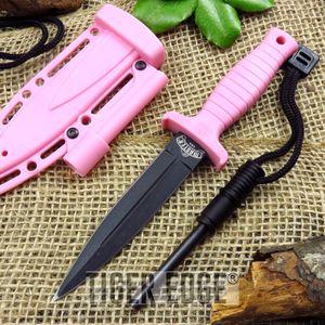 FIXED BLADE DAGGER Pink Firestarter Sheath Survival Tactical Boot Neck MU-1141PK