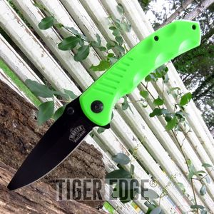 Zombie Green Handle Spring-Assisted Tactical Combat Folding Pocket Knife