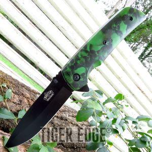 Green Skull Spring-Assisted Folding Pocket Knife