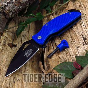 SPRING-ASSIST FOLDING POCKET KNIFE | Blue Black Tacitcal Blade Everyday Carry