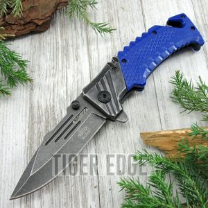 SPRING-ASSIST FOLDING POCKET KNIFE Stone Gray Blade Blue Tactical Rescue EDC