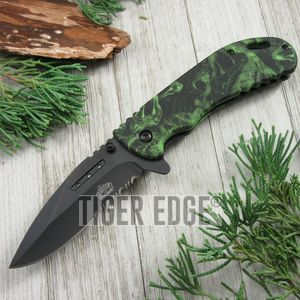 SPRING-ASSIST FOLDING POCKET KNIFE Black Serrated Blade Green Snake Tactical EDC