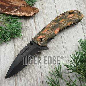 SPRING-ASSIST FOLDING POCKET KNIFE Black Serrated Blade Orange Skull Tactical
