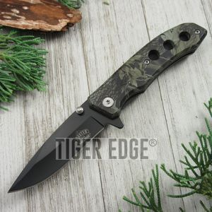 SPRING-ASSIST FOLDING POCKET KNIFE Black Blade Gray Fall Camo Hunter Tactical