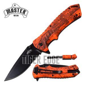 Spring-Assist Survival Folding Knife | Serrated Blade Orange Camo Fire Starter