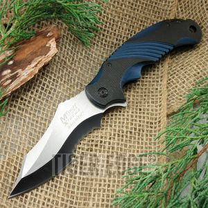 SPRING-ASSIST FOLDING POCKET KNIFE Mtech Custom Serrated Blade Blue Tactical